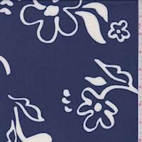 Dark Blue Modern Floral Rayon Chiffon