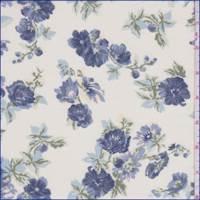 Ivory/Cornflower Floral Rayon Chiffon
