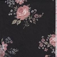 Black/Pink Rose Rayon Chiffon