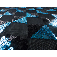 *3 YD PC--Black/Turquoise Checkered Sequin Mesh