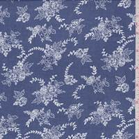 *3 1/4 YD PC--Vintage Blue Floral Cluster Rayon Challis
