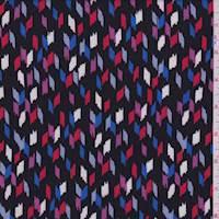 *4 1/2 YD PC--Black Multi Confetti Rayon Crepe