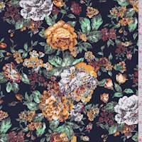 *2 YD PC--Dark Navy Tapestry Floral Print Crepe de Chine