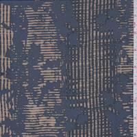 *2 YD PC--Slate Blue/Beige Wicker Stripe Silk Crepe de Chine