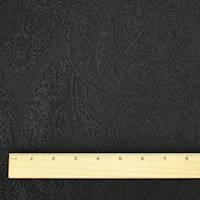 *5 YD PC--Pitch Black Paisley Texture Jacquard Jacketing