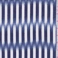 *3 YD PC--Dark Blue/White Brush Stroke Stripe Georgette