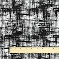 *4 1/8 YD PC--Black/White Rayon Blend Cross Hatch Texture Stretch Damask