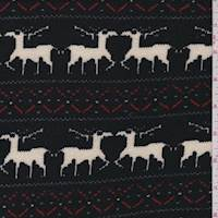 *3 YD PC--Black Reindeer French Terry Sweater Knit