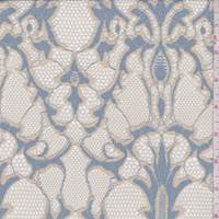 *1 YD PC--Dusty Blue/Beige Jacquard Mesh