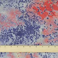 *1 YD PC--Purple/Coral/Gray Abstract Pixel Charmeuse