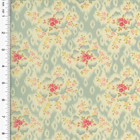 *1 YD PC--Designer Cotton Blue/Pink Floral Print Decorating Fabric