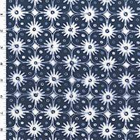 *2 YD PC--Ink Blue/White Floral Dot Print Canvas Decorating Fabric