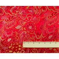 *2 1/4 YD PC--Red/Multi Floral Brocade