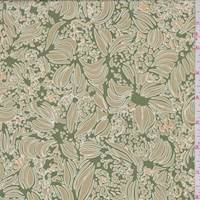*2 1/4 YD PC--Grass Green/Tan Abstract Floral Silk Georgette