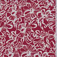 *2 YD PC--Cherry/White Floral Silk Georgette