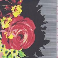 *3 3/4 YD PC--Black Multi Floral Print Chiffon