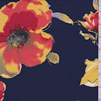 *7/8 YD PC--Navy Peony Floral ITY Jersey Knit