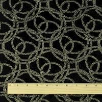 *1 YD PC--Black/Gold Circle Swirl Glitter Flock Velvet Knit