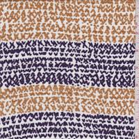 *3 3/4 YD PC--White/Gold/Plum Stripe Slubbed Jersey Knit
