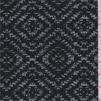*2 5/8 YD PC--Black/White Ikat Diamond Polyester Double Georgette
