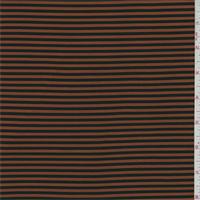 *3/4 YD PC--ITY Burnt Orange/Black Stripe Jersey Knit