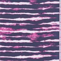 *3 YD PC--Navy/Pink Stripe Print Chiffon