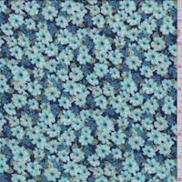 *5 YD PC--Aqua Green Floral Crepon