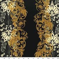 *3 1/4 YD PC--Golden Beige/Black/Ivory Baroque Print Scuba Double Knit