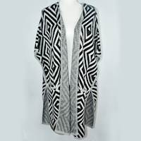 (L) Black/White Haran & Ward Geometric Diamond Poncho Cardigan Knit