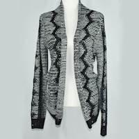(L) Black/Ivory Haran & Ward Sequin Snowflake Cardigan