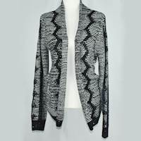 (XL) Black/Ivory Haran & Ward Sequin Snowflake Cardigan