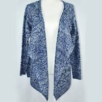 (L) Navy/White Haran & Ward Texture Knit Cardigan