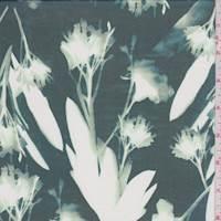 *1 5/8 YD PC--Dark Jade/White Modern Floral Silk Chiffon