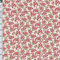 *3 1/8 YD PC--Red/White Floral Crepe Georgette
