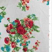*3 1/4 YD PC--Off White Floral Textured Liverpool Knit