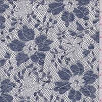 *3 1/2 YD PC--Dusty Blue Jacquard Floral Lace