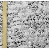 *1 YD PC--White/Black/Silver Sparkle Abstract Print Ruffle Knit