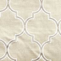 *4 3/4 YD PC--Rugged Tan Beige Embroidered Moroccan Tile Home Decorating Fabric
