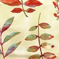 *4 3/8 YD PC--Harmony Gold/Red Printed Leaf Twill Home Decorating Fabric
