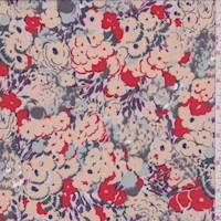 *1 YD PC--Peach Beige Poppy Garden Georgette
