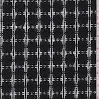 *3 1/2 YD PC--Onyx/White Plaid Wool Blend Boucle