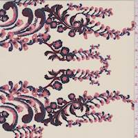 *2 7/8 YD PC--Cream/Ruby Floral Scroll Silk Crepe de Chine