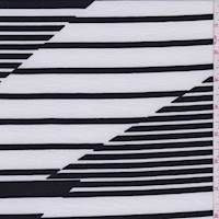 *2 3/8 YD PC--White/Black Altered Stripe Jersey Knit