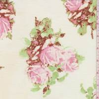Ivory/Pink Rose Floral Cotton Lawn