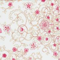 Whisper Blue Floral Scroll Cotton Lawn