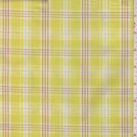 Citron Yellow Plaid Cotton Shirting