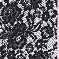 *2 YD PC--Black Rose Floral Lace