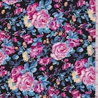 Black/Pink Rose Rayon Challis
