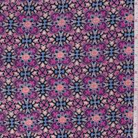 Purple/Peach Kaleidescope Rayon Challis