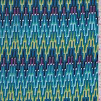 Aqua Blue Multi Digital Flamestitch Rayon Challis